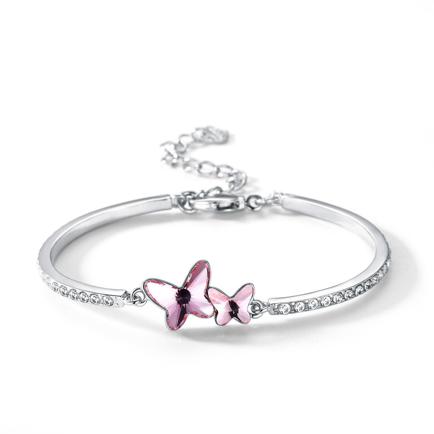 Butterfly Bangle Bracelet, Valentine's Day Gift T400 Jewelers Dream Chasers Bracelet Made with Swarovski Crystals (Pink, Eco Alloy)