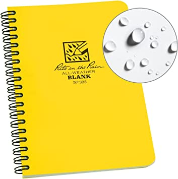 """4 5//8/"""" x 7/"""" Rite in the Rain All-Weather Side-Spiral Notebook Green Cover,"""