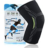 Compression Knee Support - ilaiking Breathable Knee Sleeve for Jogging/Biking/Crossfit/Squat/Basketball/Soccer/Weightlifting/Workout/Sport/Arthritis/Joint Pain Relief/Meniscus Tear/Injury Recovery Non-Slip Knee Brace for Men&Women(1 Piece)-M