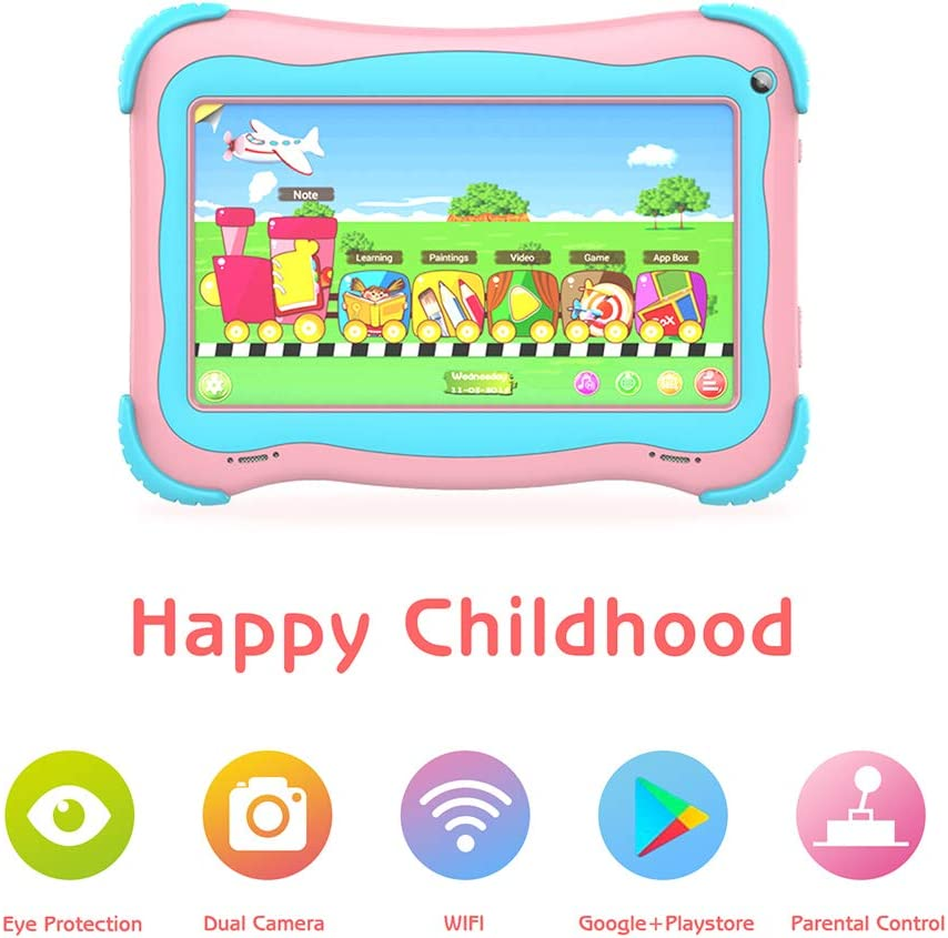 Kids Tablet 7 Android Kids Tablet for Kids Edition Tablet PC Android Quad Core Toddler Tablets with WiFi Dual Camera IPS Safety Eye Protection Screen and Parental Control Mode