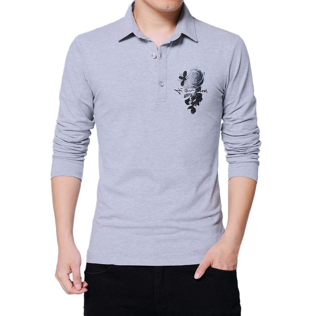 wuliLINL Mens Spring Casual Fashion Printing Button Long Sleeved Lapel T-Shirt Tops Blouse