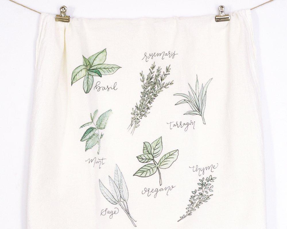 Honey Brush Design Kitchen Dish Towel 100% Cotton Flour Sack Tea Towel (Herbs)