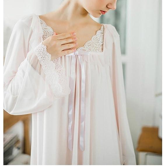 e5725fbf2d Women s Long Sheer Vintage Victorian Lace Nightgown Sleepwear Pyjamas  Lounge Dress Nightwear at Amazon Women s Clothing store