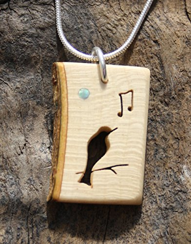 Hand-carved Bird Pendant, Irish Holly Wood Song Bird Necklace on silver ()