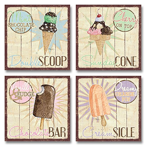 Gango Home Decor Vintage Ice Cream Shop Set, Double Scoop, Sundae Cone, Creamsicle, Chocolate Bar; Kitchen Décor; Four 12 x 12 Poster - Vintage Signs Ice Cream