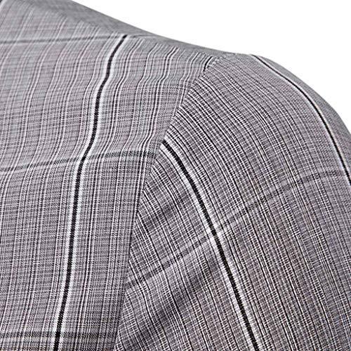 Lunga Top Shirt Camicia Tinta bottone Slim Uomini Maglietta Grigio Qinsling Denim Fit Casual Business Eleganti Uomo Manica D Autunno Unita Camicetta wZcnFTPW1q