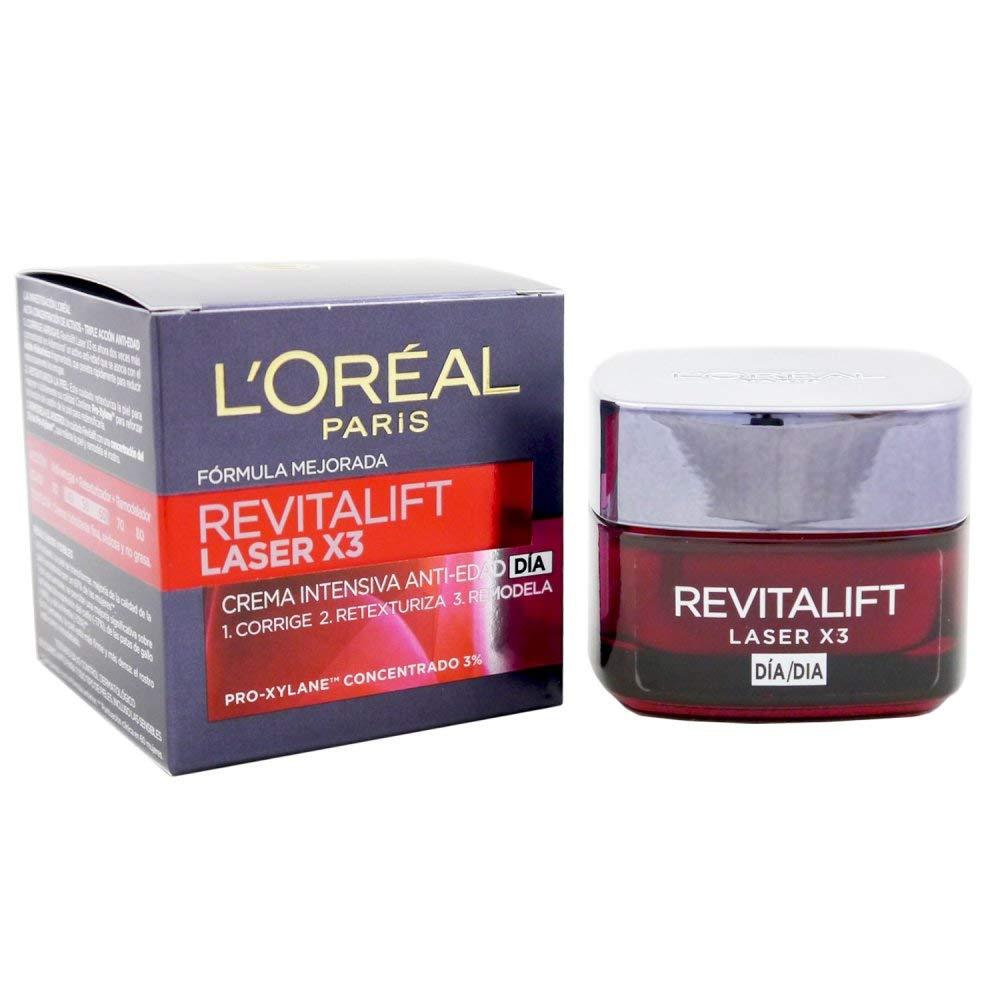 Crema hidratante de día marca L'Oreal. Efecto anti-edad Revitalift laser.
