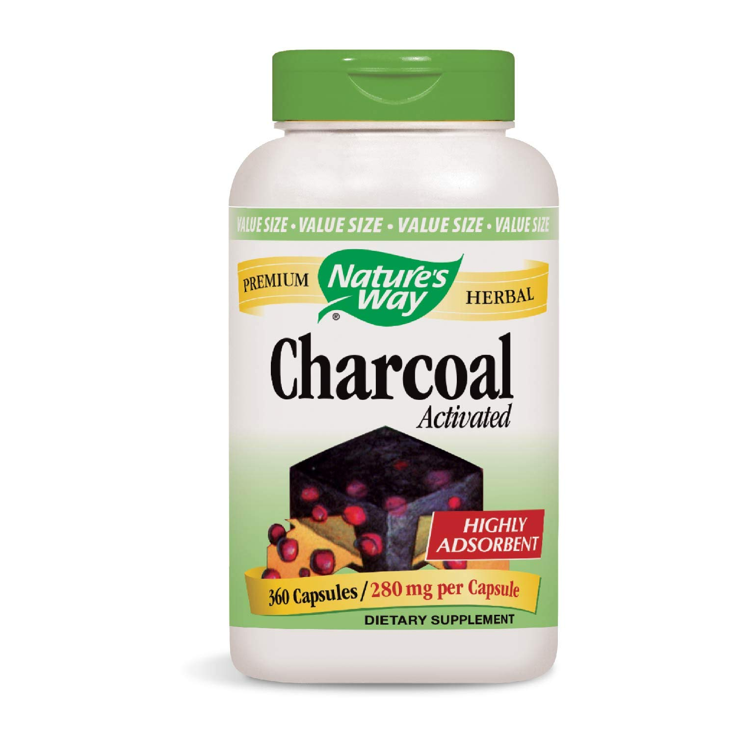 Nature's Way Charcoal Activated; 560 mg Charcoal per serving; 360 Capsules (Packaging May Vary) by Nature's Way (Image #1)