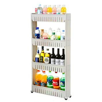 Amazoncom Tosnail 4tiers Slim Slide Out Storage Tower Pantry