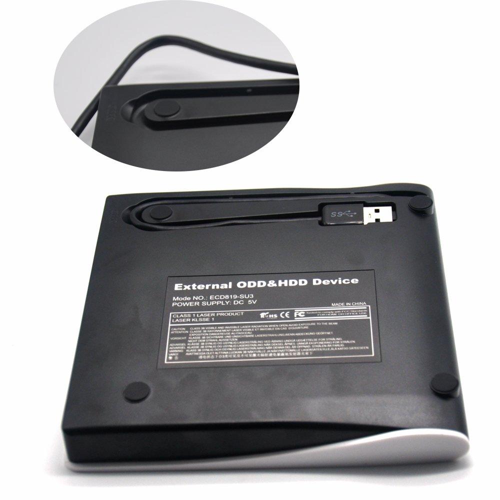 Padarsey DVD Drive for Laptop, Sibaok Portable USB 3.0 DVD-RW Player CD Drive, Optical Burner Writer Rewriter for Mac Computer Notebook Desktop PC Windows 7/8/10, Slim White by Padarsey (Image #4)