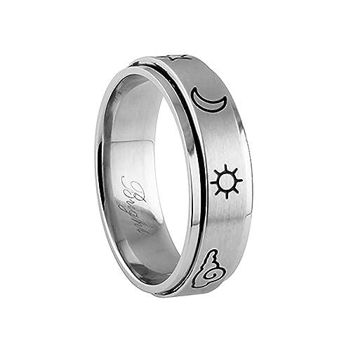 JewelryVolt 316 Acero inoxidable Spinner Ring - grabados con láser naturaleza glifo símbolos diseño: Amazon.es: Joyería