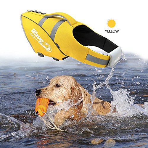 BOCHO Wave Rider's Reflective Dog LifeJacket, Super Buoyancy and EVA lining ,Adjustable Dog Safety Vest. (Medium, yellow) by BOCHO