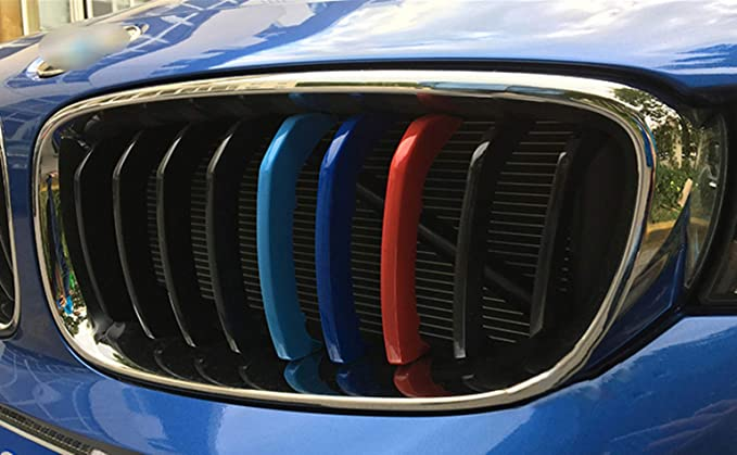 for 13-16 BMW 3 Series GT F34 9Grilles one Side 3D M Styling 3 Colors Front Grille Trim Motorsport Stripes Grill Cover Performance Stickers 3Pcs