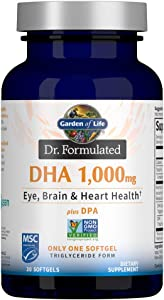 Garden of Life Dr. Formulated DHA 1,000mg Fish Oil - Lemon, Once Daily 1000mg DHA + DPA in Triglyceride Form, Single Source Omega 3 Supplement for Ultimate Eye, Brain & Heart Health, 30 Softgels