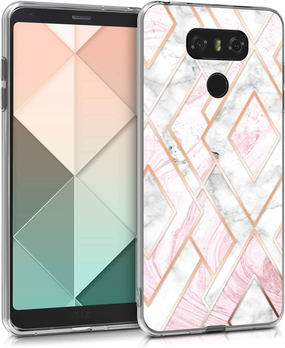 kwmobile Case Compatible with LG G6 - TPU Crystal Clear Back Protective Cover IMD Design - Glory Mix 2 Rose Gold/White/Dusty Pink
