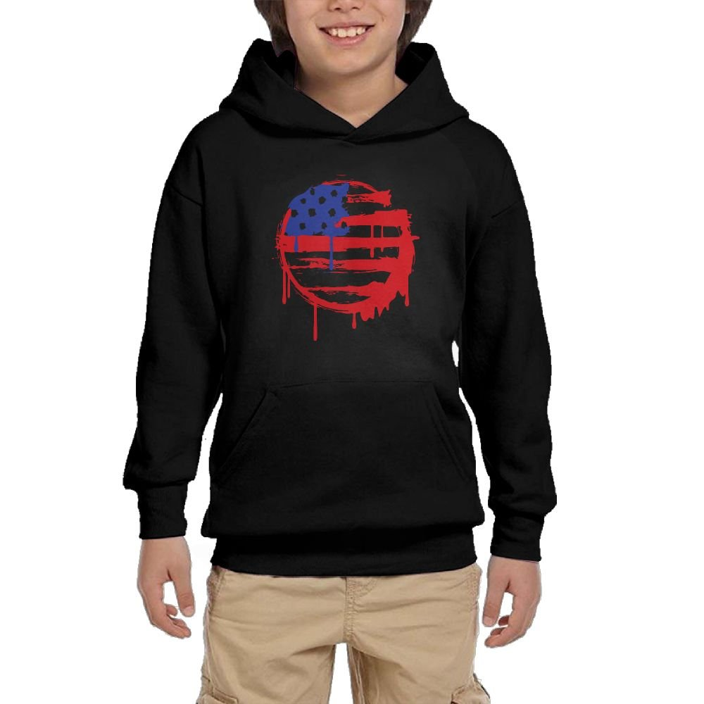 Youth Black Hoodie American Grunge Flag Hoody Pullover Sweatshirt Pocket Pullover For Girls Boys L