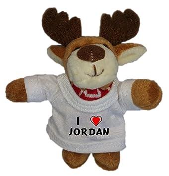 Reno de peluche (llavero) con Amo Jordan en la camiseta