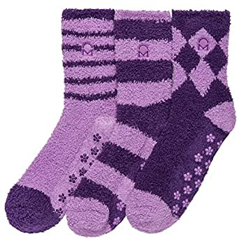 Noble Mount Women's (3 Pairs) Soft Anti-Skid Fuzzy Winter Crew Socks,Set C10 [Gift Packaged],Fit sizes 9-11