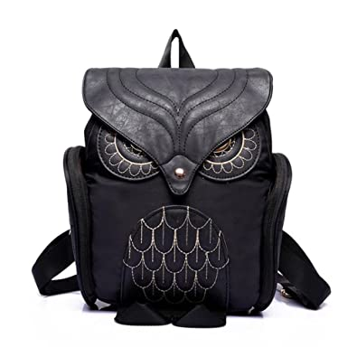 Bluester Women Leather Owl Backpack Female Mujer Mochila Escolar Feminina School  Bag (Black) 7bbf0a284856f