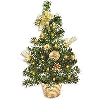 Riffelmacher Geschmückter Mini Weihnachtsbaum beleuchtet 50cm - Farbauswahl - mit Lichterkette Schleifen Christbaumkugeln