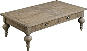 Emerald Home Interlude Sandstone Gray Coffee Table with Two Drawers, Plank Style Top, and Turned Legs Grey/Standard//Rectangle/Casual/Rectangle
