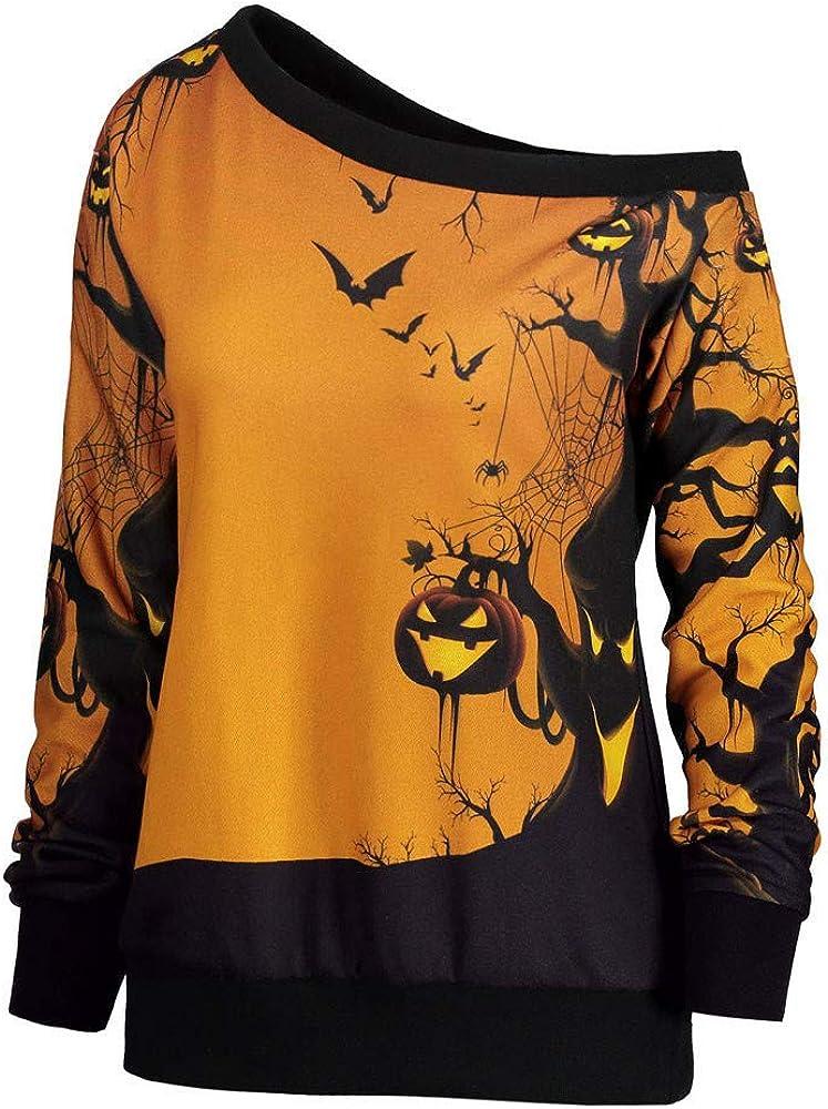 Zottom Donna Halloween Party Skew Neck Zucca Print Felpa Pullover Tops