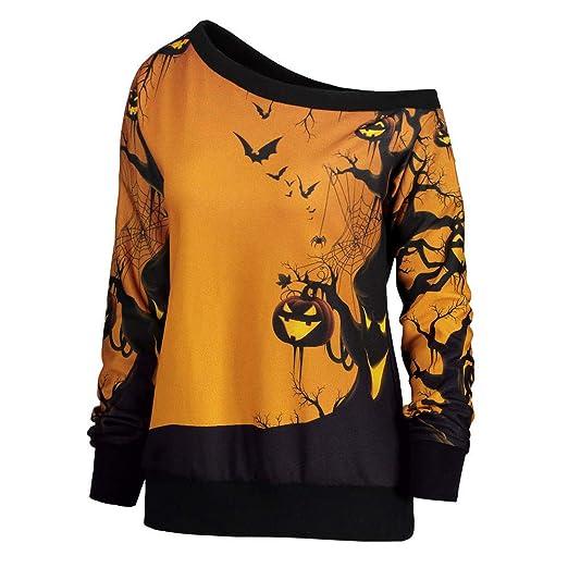 NREALY Womens Halloween Party Skew Neck Pumpkin Print Sweatshirt Jumper Pullover Tops(XL, Yellow