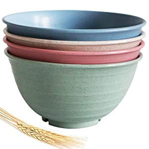 Greenandlife 30 Ounce Lightweight & Unbreakable Wheat Straw Bowl - Noodle Fruit Soup Bowl Rice Bowls Dishwasher Microwave Safe, Non-toxin, BPA free and Healthy for Kids Children Toddler & Adult