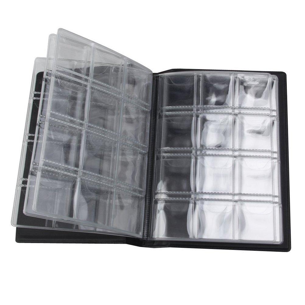 LUOEM Portamonete per 120 Monete Raccoglitore per Monete Album Moneta Moneta Tasche Nero