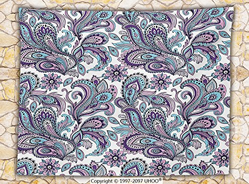 Paisley Fleece Throw Blanket Blue and Purple Large Flowers Leaves Floral Pattern Bohemian Style Country Print Throw Bonnie Blue Patterns