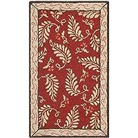 Safavieh MSR3753C Martha Stewart Collection Fern Frolic Wool Area Rug, 2-Feet 6-Inch by 4-Feet 3-Inch, Saffron Red