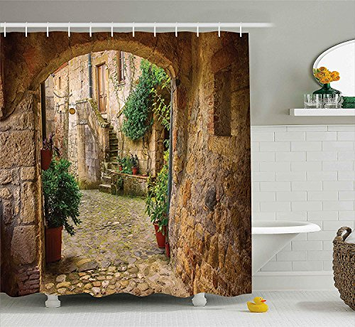 - SZZWY Landscape from Another Door Antique Stone Village Tuscany Italian Valley Scenery Decor Shower Curtain Fabric Bathroom Decor with Hooks 71x71 inches Multicolor