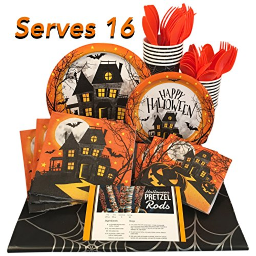 Halloween Paper Plates and Napkins with Cups, Table Cover and Utensils (Haunted House, Serves 16) -