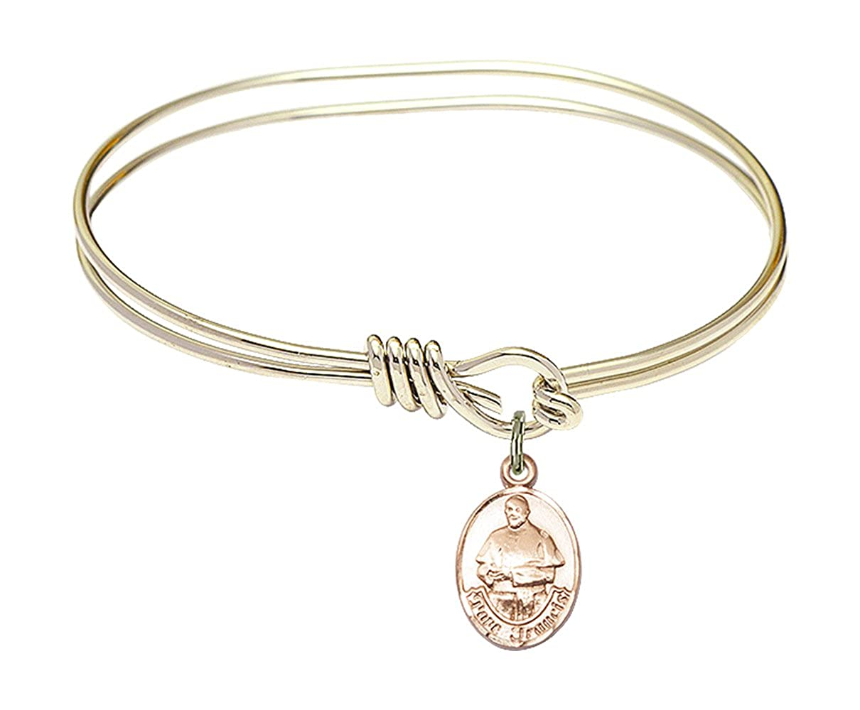 DiamondJewelryNY Eye Hook Bangle Bracelet with a Pope Francis Charm.