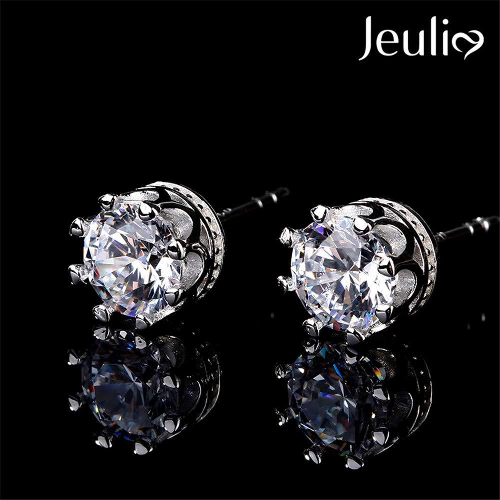 473b436e7 Amazon.com: JEULIA Classic Crown Sterling Silver Stud Earrings Round Clear  CZ Jewelry Women's Stud Earrings Cubic Zirconia Gift for Women & Girls  Party ...
