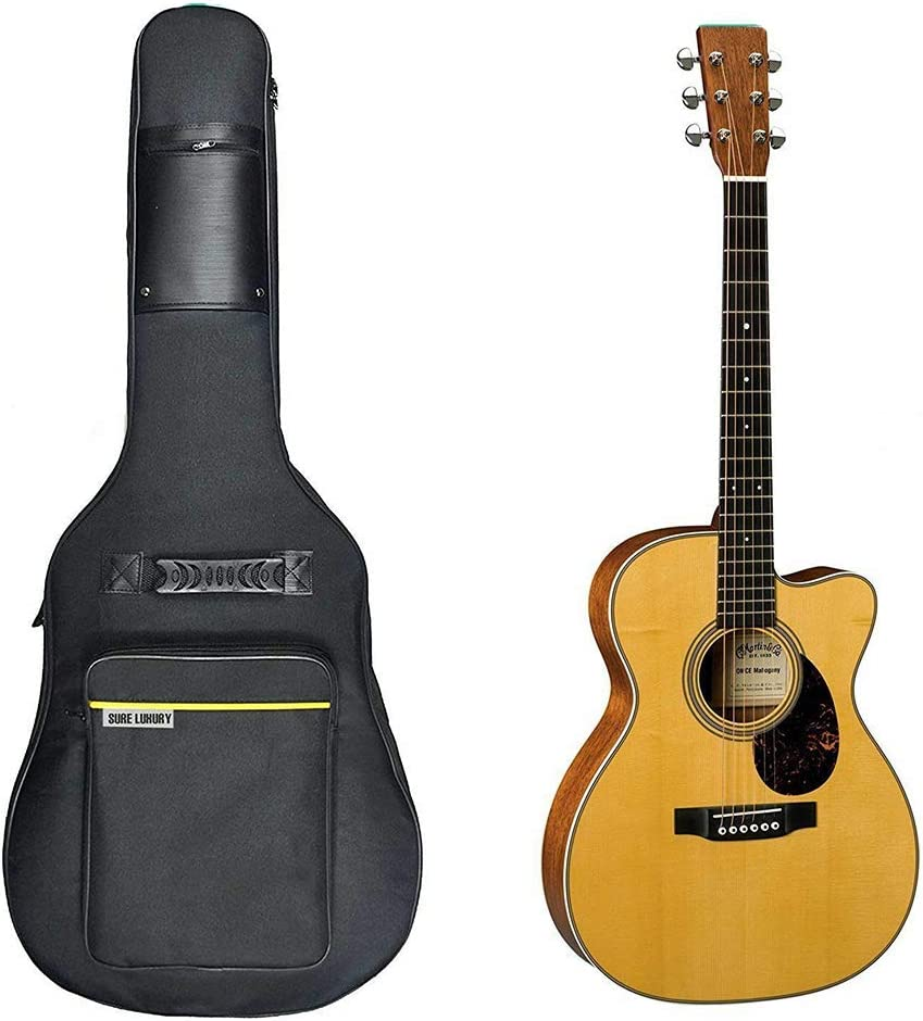 Acoustic Guitar Bag Waterproof Guitar Case 41 42 inch Guitar Gig Bag 10MM Padding with Back Hanger Loop and Pocket for Music Sheet Stand Navy