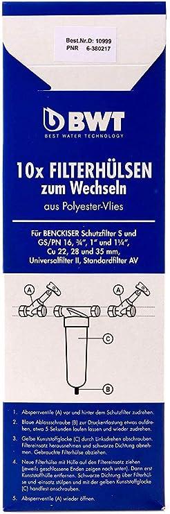 """1/""""-1 1//4/"""",10999E 10 Stück BWT Filtervlies Filterhülsen für Filter S und GS 3//4/"""""""