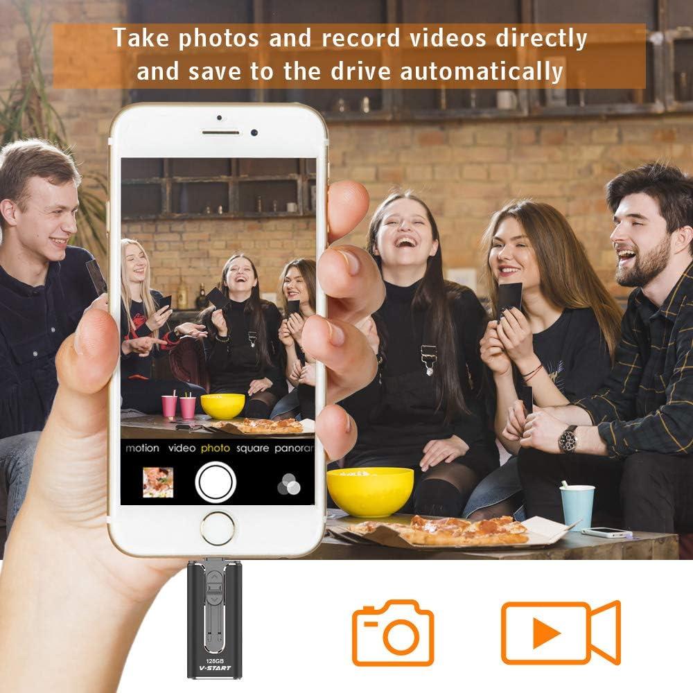 3.0 Photo Stick USB Memory Stick External Storage Pen Drive High Speed Thumb Drive Black Jump Drive Compatible for iPhone iPad iPod Mac Android Phone PC Laptop USB Flash Drive 128GB