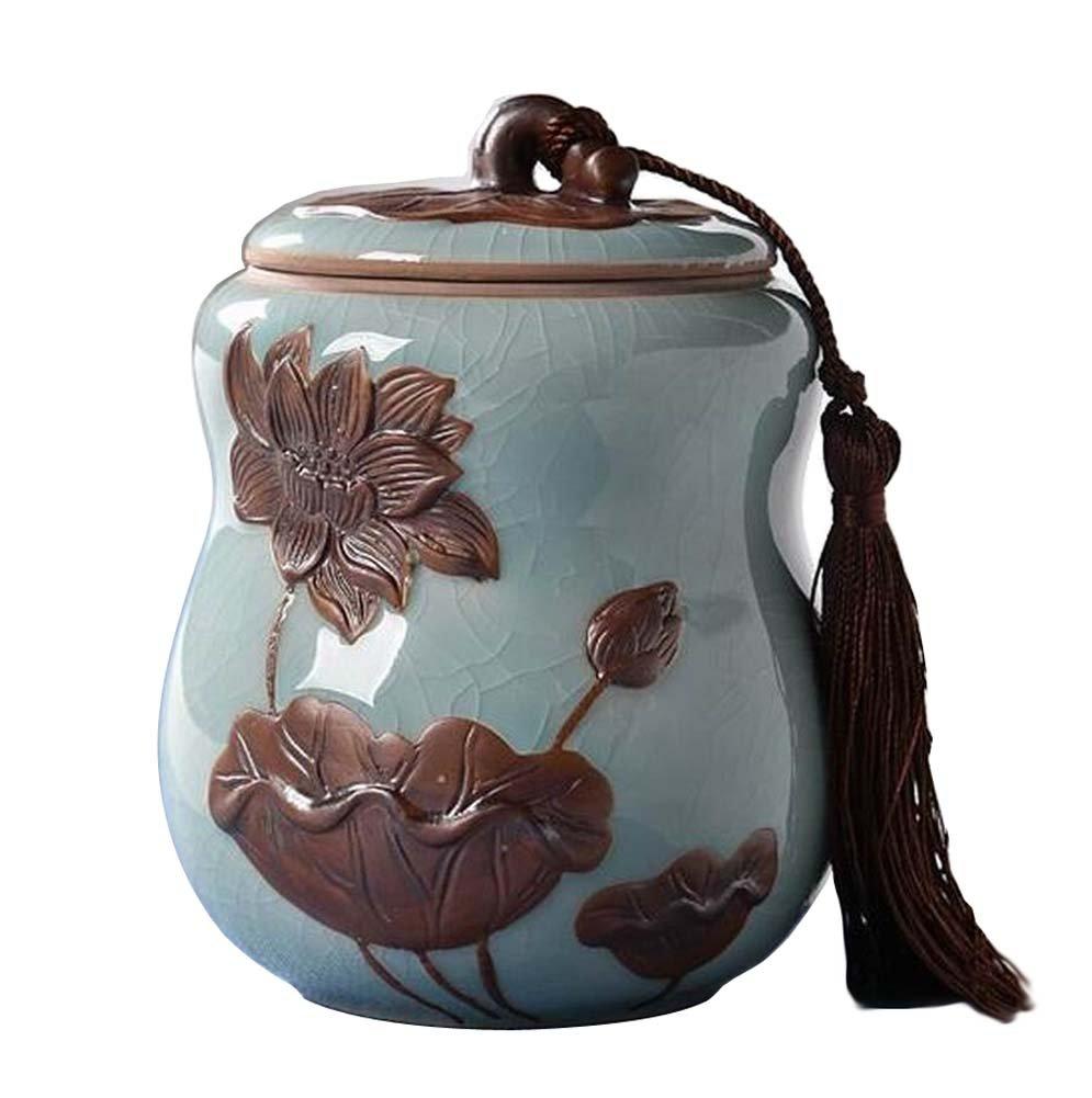 [Lotus-1] Ceramic Tea Canister Coffee Tins Spice Jar Exquisite Tea Caddy Black Temptation