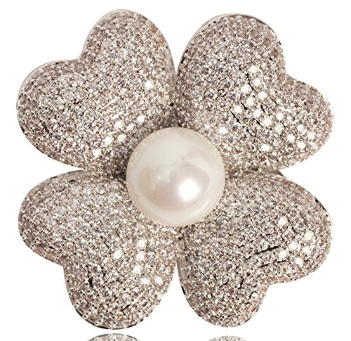 Fashion Jewelry MISASHA Designer Statement Four Petals Leaves Flower Brooch Pin For Women (Silver) by Fashion Jewelry