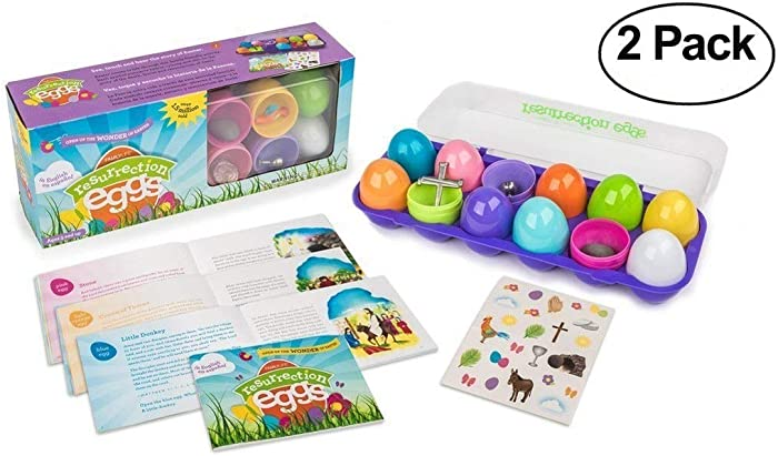 Family Life Resurrection Eggs - 12-Piece Easter Egg Set with Booklet and Religious Figurines Inside - Tells The Full Story of Easter (2-Pack)