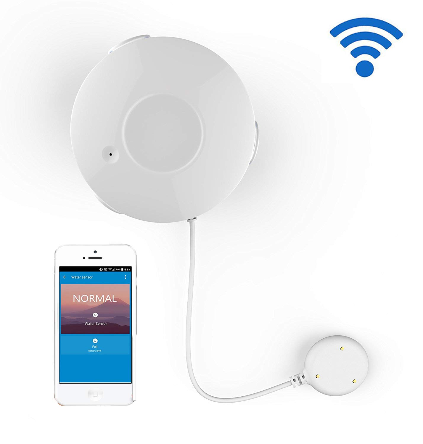 Coolcam Smart Wi-Fi Water Sensor, Flood and Leak Detector Alarm and App Notification Alerts, No Hub Required, Simple Plug & Play Set Up by CoolCam