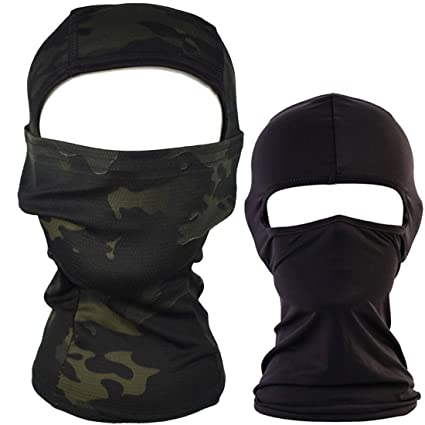 QHIU Táctico Camuflaje Ninja Hood Capucha Completa Cara Cuello Máscara Balaclava Aire libre Deporte Ejército Ciclismo Motocicleta Militar Paintball ...