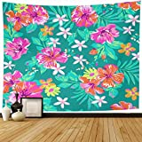 """Ahawoso Tapestry Wall Hanging 60""""x50"""" Pattern Watercolor Flower Cute Tropical Orange Floral Bright Abstract Pretty Design Home Decor Tapestries Decorative Bedroom Living Room Dorm"""