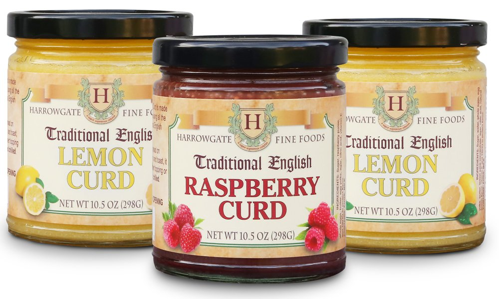 Harrowgate Traditional English Curds - 3 pack variety (10.5 oz ea) 2 Lemon, 1 Raspberry
