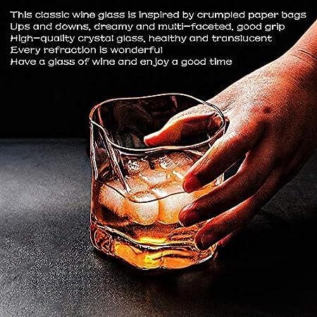 Vasos de Whisky, Vaso Set 6 Piezas de Cristal Sin Plomo para Whisky, Vino, Cócteles, Bourbon, Zumo   Apto para Microondas y Lavavajillas   Uso en Casa, Restaurante y en Fiestas   250 ML