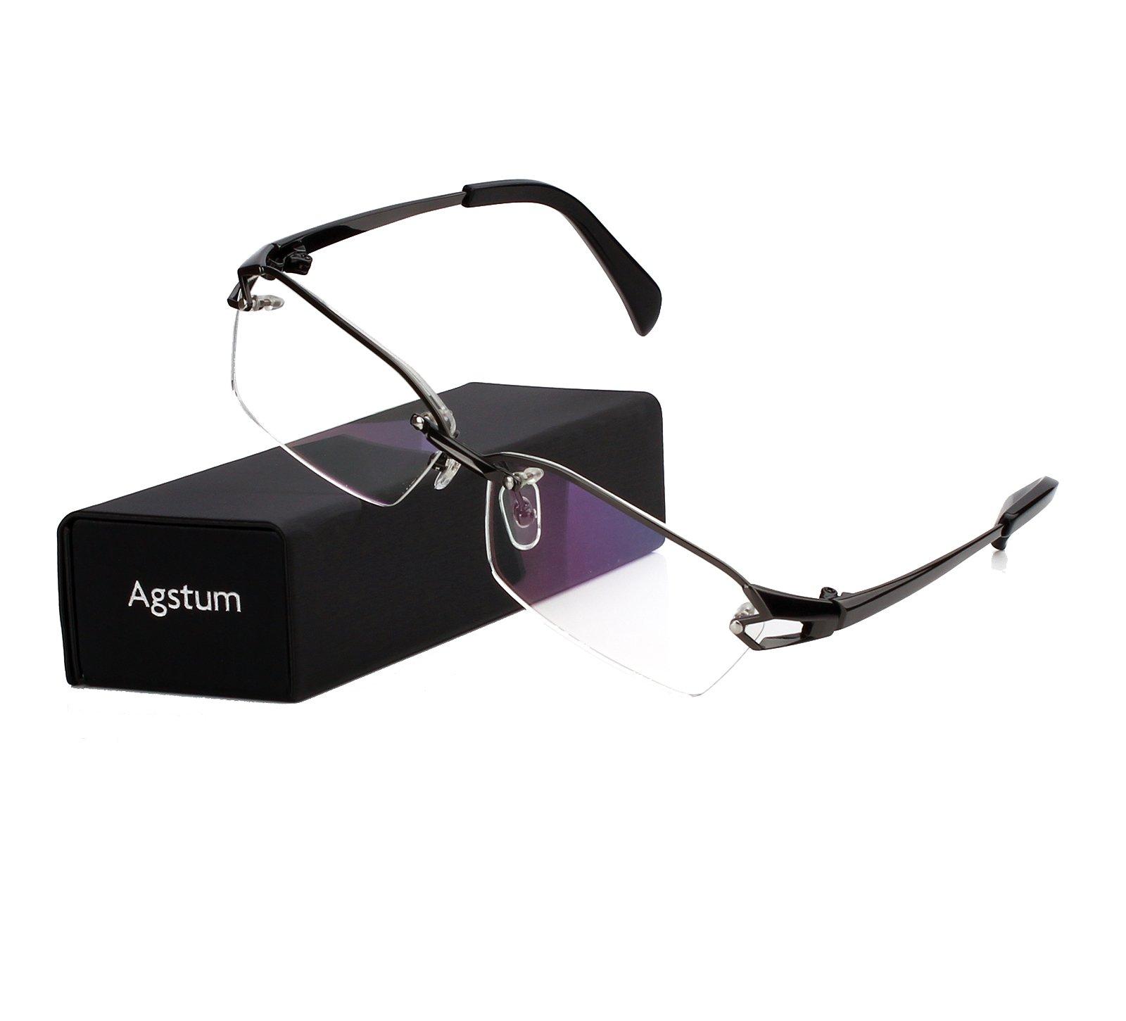Agstum Pure Titanium Half Rimless Glasses Frame Optical Eyeglasses Clear Lens (Gunmetal, 58)