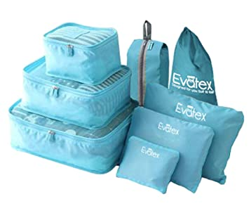e008e4aa11e6 Evatex Travel Packing Cubes, with Waterproof Shoe, Cosmetic, Diaper,  Laundry Bag, Blue, Set of 8