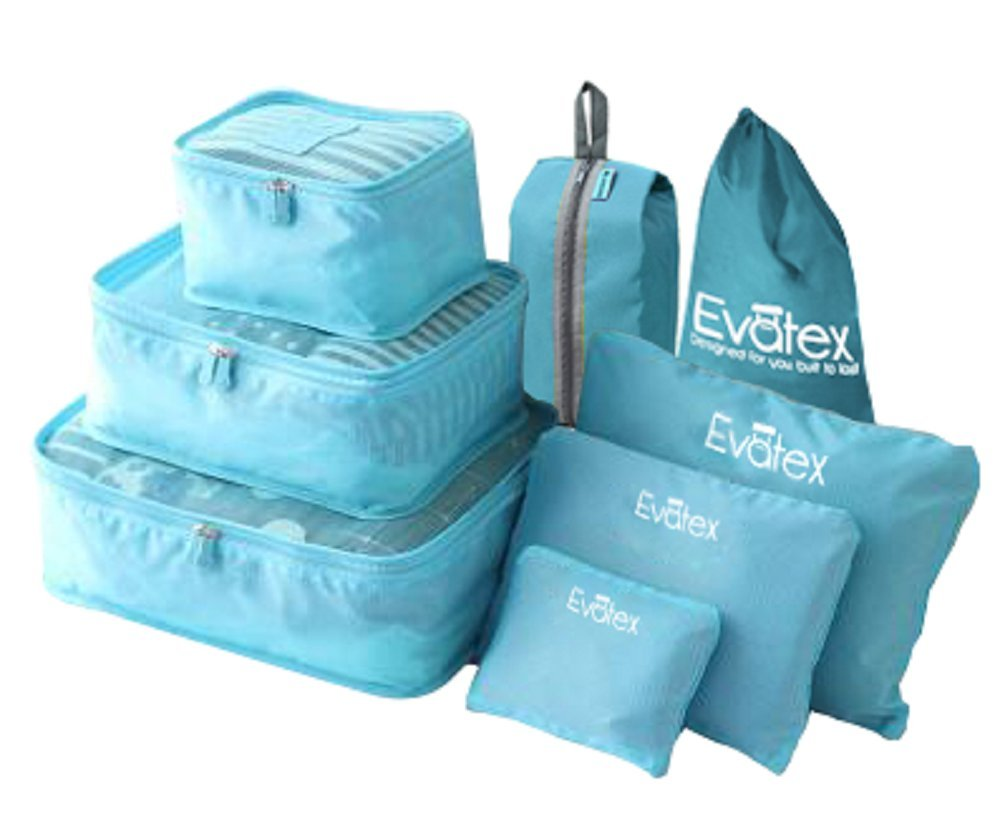 Evatex Travel Packing Cubes, with Waterproof Shoe, Cosmetic, Diaper, Laundry Bag, Blue, Set of 8