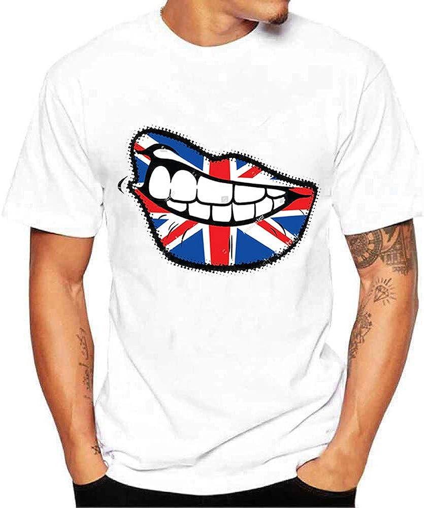 MEIbax Camisetas para Hombre Color sólido, Cuello Redondo Manga Corta, Mezcla de algodón impresión Camisa, Sueltos Originales Deportivo Jogging ...